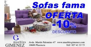 Oferta sofas fama 10% deto en Muebles gimenez plasencia