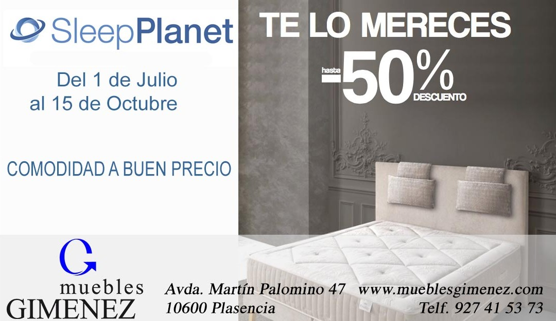 Colchones hasta el 50% descuento Sleep Planet